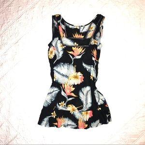 Roxy Floral Peplum Sleevless Tunic Top SP